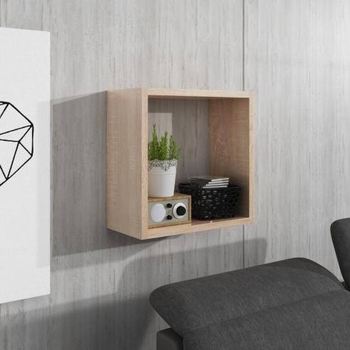 Kwadratowa półka wisząca w kolorze dąb sonoma