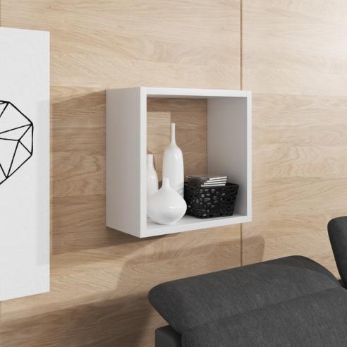 Kwadratowa półka wisząca w kolorze białym