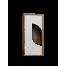Witryna wysoka do salonu POLO 88 cm w kolorze biały/dąb stirling